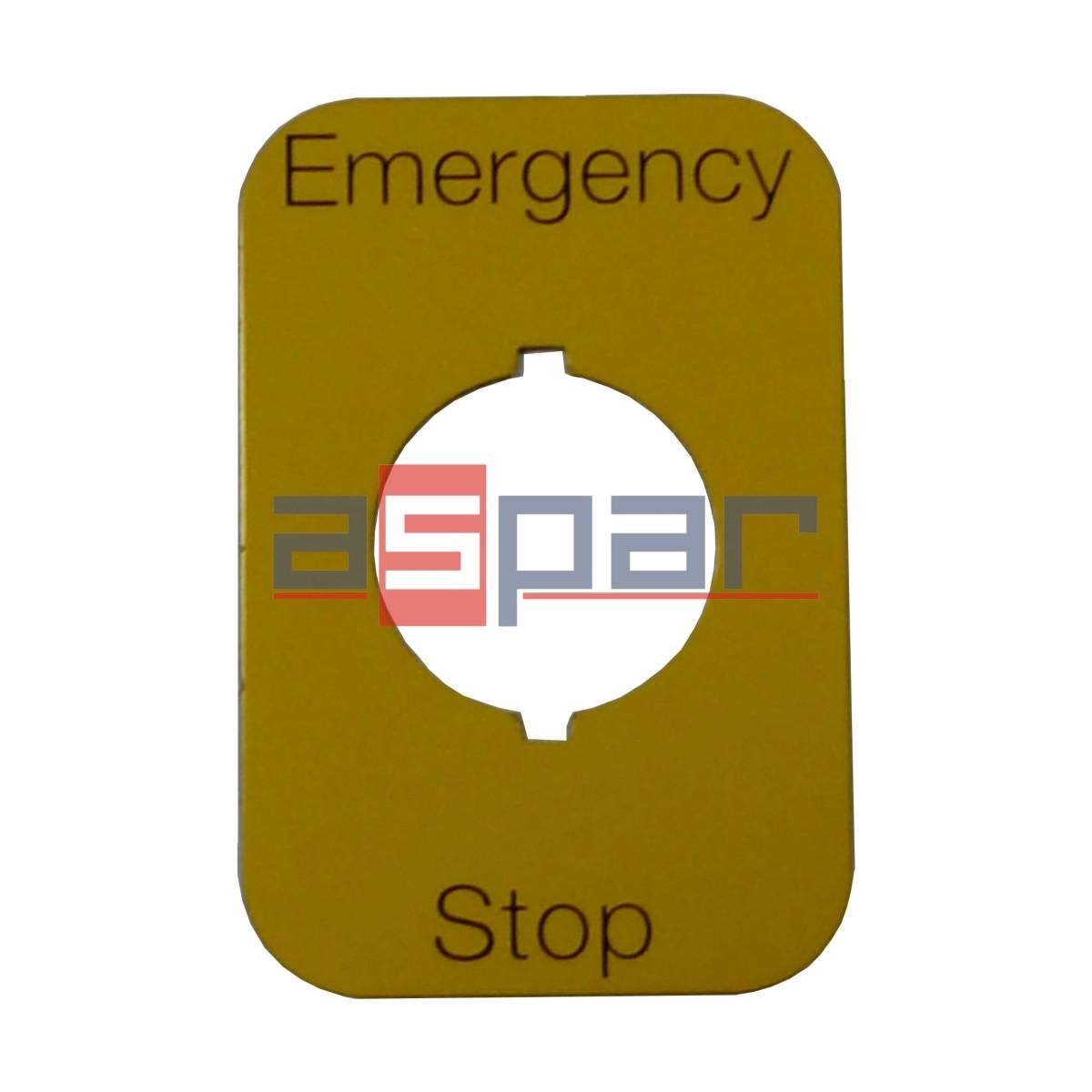 """Tabliczka """"Emergency Stop"""" MA6-1023"""