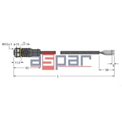 RKC4.4T-5/TXL, M12, 4-piny, 5mb, 6625504