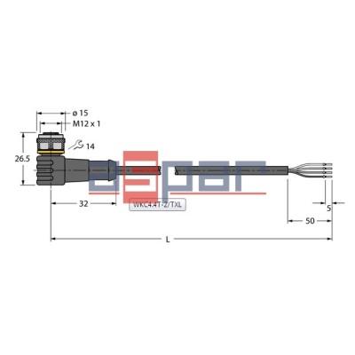 WKC4.4T-2/TXL, M12, 4-piny, 2mb, 6625515