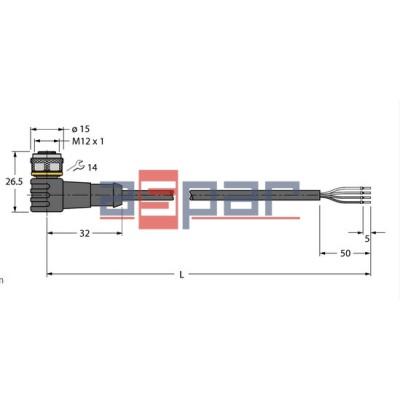 WKC4.4T-5/TXL, M12, 4-piny, 5mb, 6625516