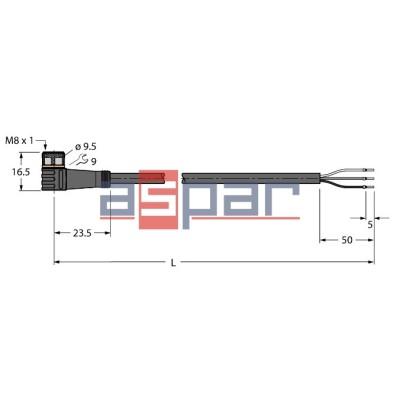 PKW3M-5/TXL, M8, 3-piny, 5mb, 6625557
