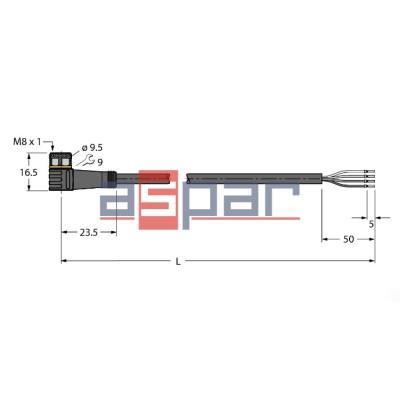 PKW4M-2/TXL, M8, 4-piny, 2mb, 6625559