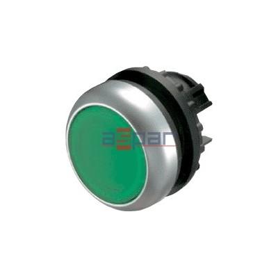 Przycisk z samopowrotem, płaski, zielony, M22-D-G, 216596