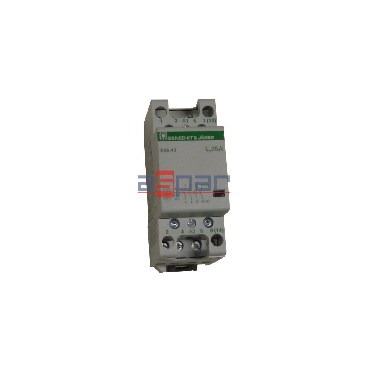 Stycznik modułowy 25A, 4-polowy, 4xNO, 230VAC, R25-40-230-000