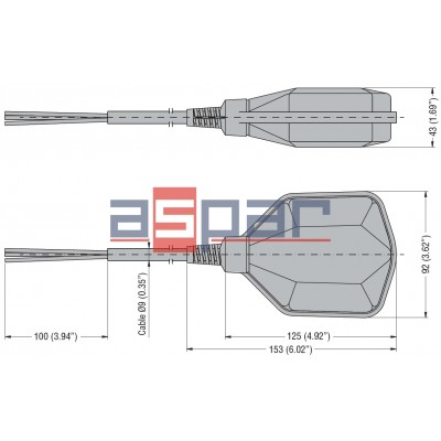 Przełącznik pływakowy LVFSP1W - przewód PCV