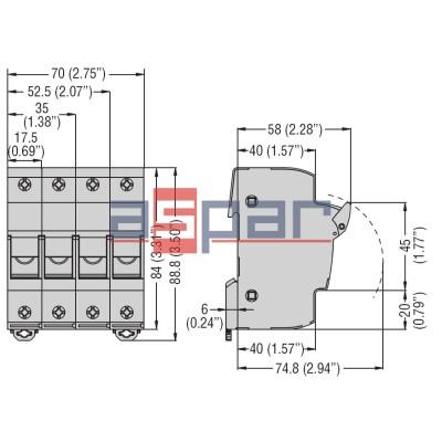 FB01D2P - Podstawa bezpiecznika 10x38, 2 pola