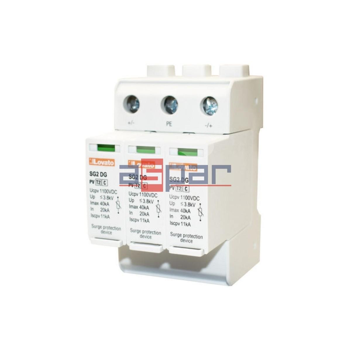 SG2DGK10M3 - Ogranicznik przepięć do 1100VDC (+, -, PE), Iscpv-11kA, typ 2