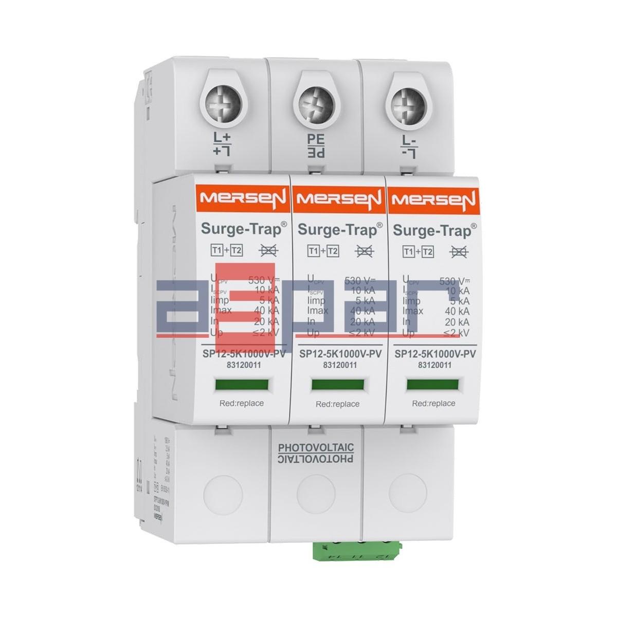 STPT12-5K1000V-YPV - Ogranicznik przepięć PV, typ 1+2 (B+C) 1060V DC,  3 -polowy