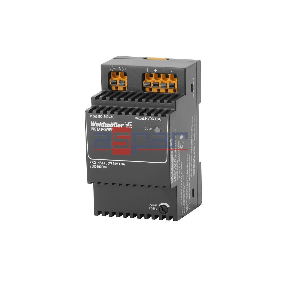 zasilacz impulsowy, 24 V, PRO INSTA 30W 24V 1.3A
