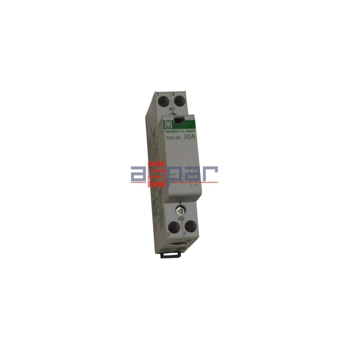 Stycznik modułowy 20A, 2-polowy, 2xNO, 230VAC, R20-20-230-000