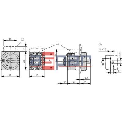 P1-25/E-RT - rozłącznik do wzbudzania 3-fazowy, 0-1, 25A, 002388
